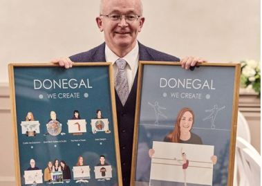 Michael Tunney & art pieces - Donegal creative business event 379x269
