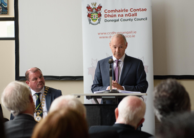 Dr Peter FitzGerald Founder and Managing Director of Randox Laboratories speaking at the Cathaoirleach's Reception which was held in his honour at Dungloe Public Service Centre on Tuesday.