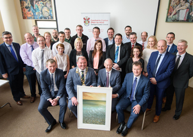 Randox Teoranta employees attending the Cathaoirleach's Reception in honour of Dr. Peter FitzGerald on Tuesday.  Included front row l to r: Ciaran Richardson,