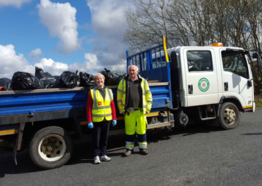 2Cllr Rena Donaghey and council foreman George Porter with some of the rubbish collected in Buncrana.
